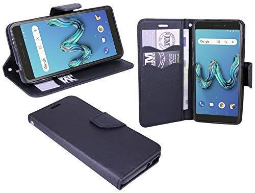 cofi1453® boek tas Fancy compatibel met WIKO Tommy 3 mobiele telefoon hoes etui portefeuille beschermhoes met standaard functie, kaartenvak zwart