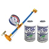 YIYI エアコン ガス チャージ ホース メーター付 R134a とカーエアコン用冷媒 HFC-134a(缶2本)セット