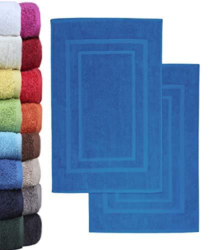 NatureMark 2er Pack Badvorleger Badematte | Premium Qualität | 100% Baumwolle | 50 x 80 cm | Duschvorleger Duschmatte Doppelpack | Farbe: Royal blau