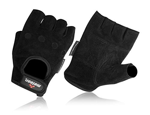 Met-X Weight Training Wheelchair Bus Driving Fitness Gloves Soft Palm Black Suede Leather (Small)