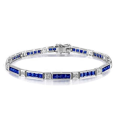 Bishilin Pulsera de Oro Blanco 750 Mujeres Hombres Pulsera de Banda Real Clásico Pulseras de Encanto Azul Zafiro Diamante Pulseras de Mujer Forma Cuadrada Regalos para Navidad Aniversario Azul