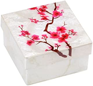 Kubla Craft Cherry Blossoms Capiz Shell Keepsake Box, 3 Inches Square