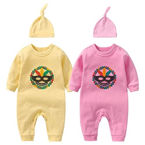 culbutomind Bebé Twins Body Circo Cumpleaños Carnaval Ropa de Cumpleaños Niño Trillizos Ropa con Sombrero, amarillo, 6 mes