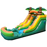 Pogo Bounce House Inflatable Water Slide - 12' Foot Tall x 21' Foot Long x 9' Foot Wide - Crossover Tropical Oasis Complete - Includes: Blower, Anchor Stakes, and Storage Bag