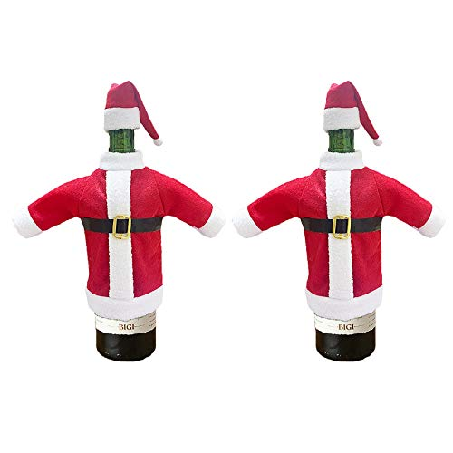 AQ89 2PCS Wine Bottle Cover Bags Decoration Home Party Santa Claus Christmas