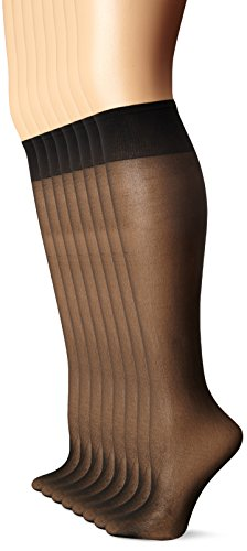 L'eggs Women's Plus-Size Everyday Knee High Sheer Toe (Pack Of 8), Jet Black, One Size