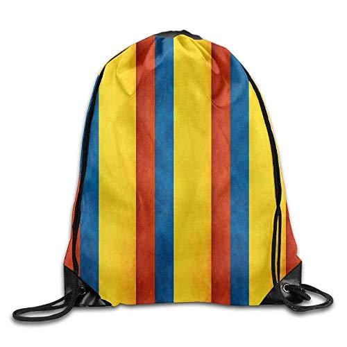 Naiyin Drawstring Backpack Colombia Flag Map Men & Women Printing Rucksack Shoulder Bags Gym Bag Folding Backpack Runner Daypack
