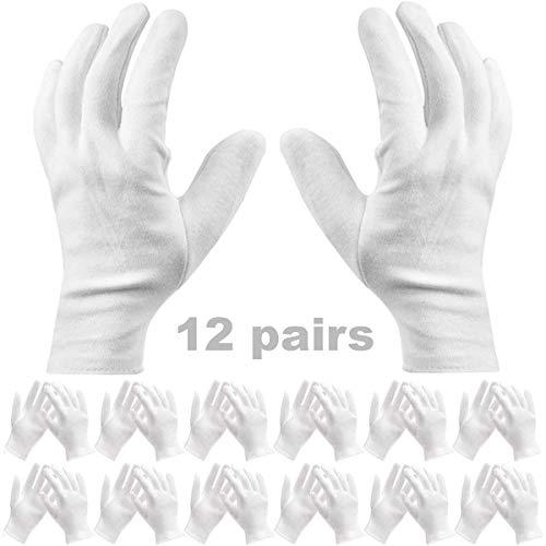 Baumwollhandschuhe Weiß - JAHEMU 12 Paar Weiß Care Baumwollhandschuhe Arbeitshandschuhe für Hautpflege Schmuck Untersuchen Montage Catering Bankett Dekoration, Freie Größe