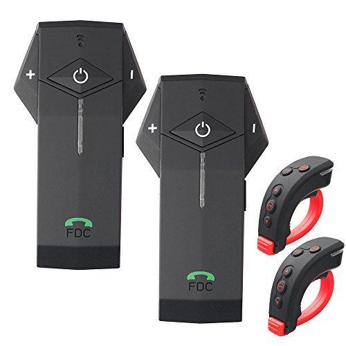 FreedConn Moto Interphone Bluetooth Casque Audio Stéréo Mains Libres BT Intercom avec Télécommande Prend en charge NFC, FM Raido, 1000M(2 Pièces)