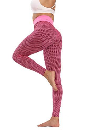 Leggings Mallas para Running Training,Pantalones de Yoga Ajustados de Secado rápido, Leggings de Cintura Alta Que levantan la Cadera-Rosa_L,Running Training Mallas para