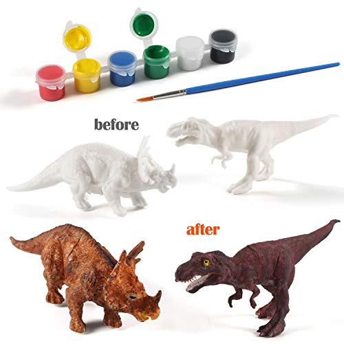Decorate Your Own 2 Solid-Resin Dinosaur Arts Crafts AINOLWAY 3D Painting Dinosaurs for Kids DIY Graffiti Toys B