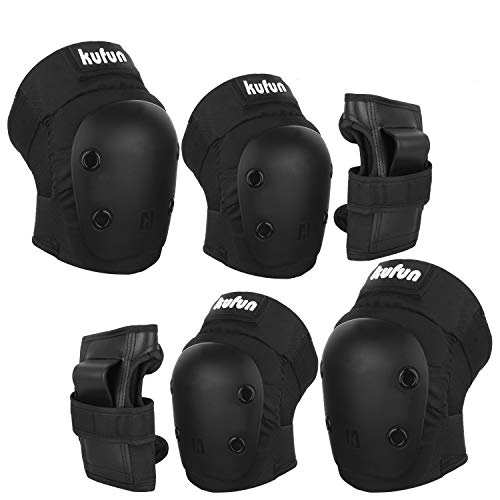 Speedsporting Protektoren Set, 6 in 1 Profi Schutzausrüstung für Kinder & Erwachsene - Verstellbar Knieschoner Ellenbogenschützer Handgelenkschoner für Inliner Skaten Roller Skateboard (Schwarz, XL)