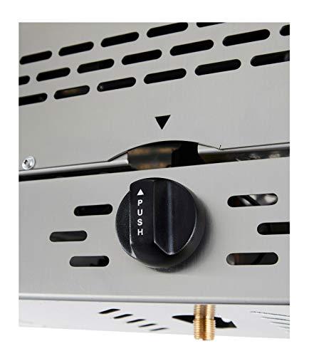 Oberhitze Steakgrill Gasgrill bis 800° Grillrost mit Handgriff Abtropfschale 2X Keramikbrenner Piezo Zündung Abtropfschale Gehäuse aus SS304 Edelstahl Gasschlauch mit Regulator (1x Power Burner PRO)