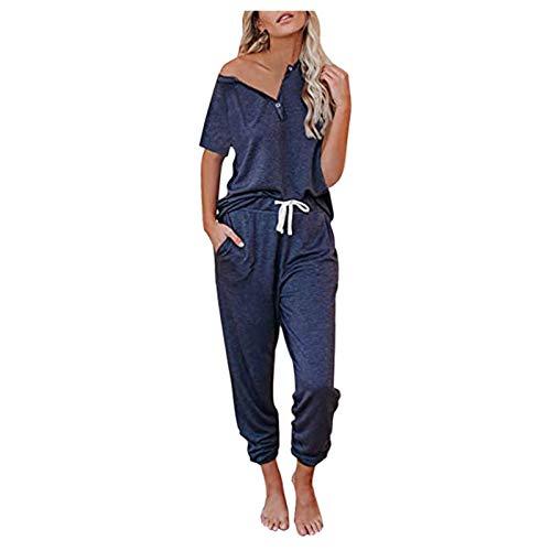 Summer Shirts Tops Pants Set for Women V-Neck Short Sleeve Pullover Bandage Loose Pants Sweatsuits Navy