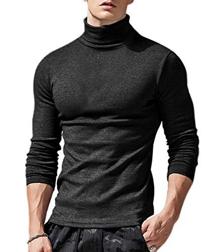Cyiozlir Herren Rollkragen Langarmshirt Slim Fit Unterzieh Rolli Rollkragenpullover Einfarbig Pullover Turtleneck Longsleeve Shirt (Schwarz, Medium)