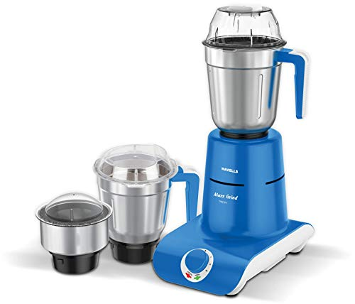 Havells Maxx Grind 750 Watt Mixer Grinder with 3 Stainless Steel Jar and Overload indicator (Blue)