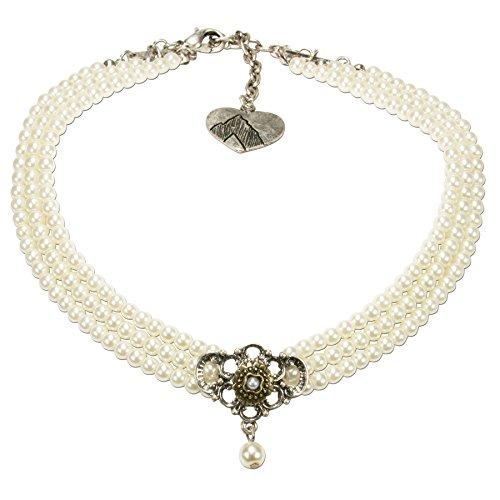 Alpenflüstern Trachten-Perlen-Kropfkette Hedwig - nostalgische Trachtenkette Damen-Trachtenschmuck Dirndlkette Creme-weiß DHK190