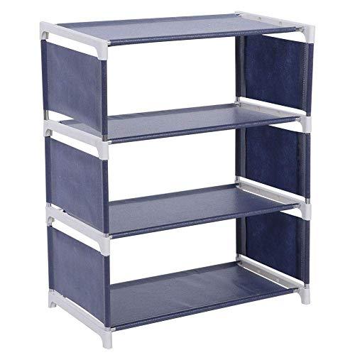 Organizador de estantes de 4 Niveles para Zapatos Verticales Estante de Almacenamiento de Zapatos de Metal Resistente para Sala de Estar Guardarropa y Pasillo(Azul Oscuro)