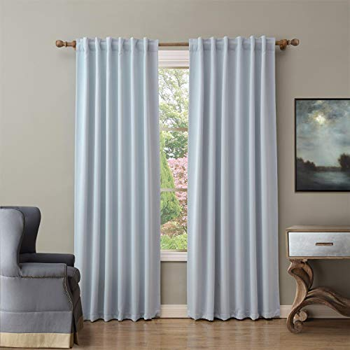 ChadMade Back Tab/Rod Pocket Sky Blue 52Wx72L Inch (Set of 2 Panels) Solid Thermal Insulated Blackout Curtain Drape