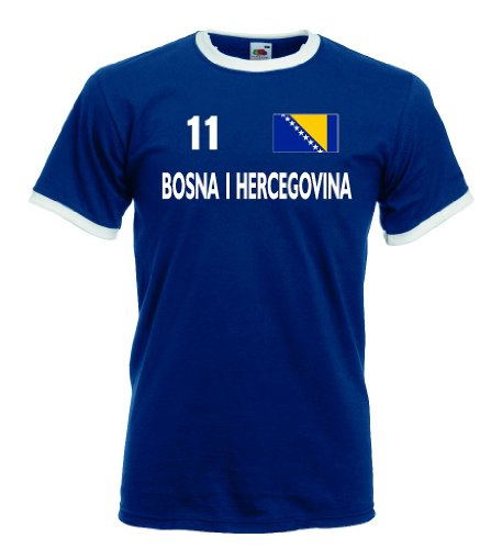 Fruit of the Loom Bosna Herzegovina Retro T-Shirt Bosnien Trikot Nr.11|b-XXL