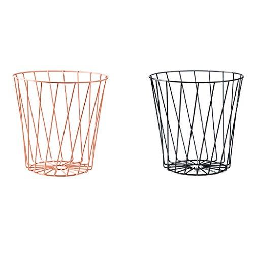Papeleras Cubos de basura de malla metálica Bote de basura con tapa abierta Bote de basura para oficina Hogar Hierro Inodoro hueco Bote de basura Patio, Cubo de basura universitario (Color: Negro +