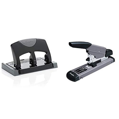 Swingline 3 Hole Punch, Desktop Hole Puncher 3 Ring, Black/Gray & Heavy Duty Stapler, 160 Sheet High Capacity, Black/Gray (39005)
