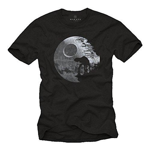 Todessstern T-Shirt mit at at im Mond schwarz Herren Größe XL
