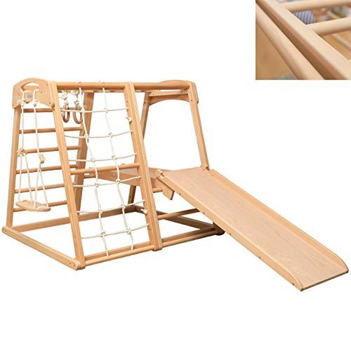DUTUI Indoor-Klettergerüst Für Kinder, Buchenholzschaukel Mit Ring, Rutsche, Kletter- Und Skateboard,...