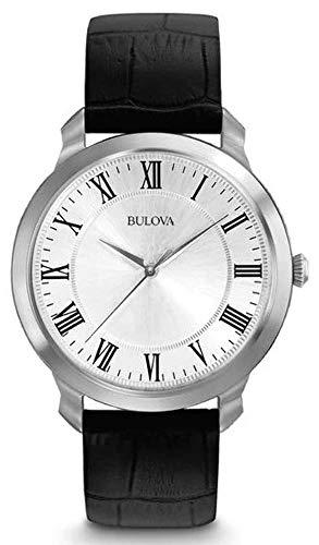 Bulova - Orologio Solo tempo 3 sfere, cassa in acciaio, cinturino in pelle nera, quadrante bianco con numeri romani, fibbia ad ardiglione per Uomo - 1616152