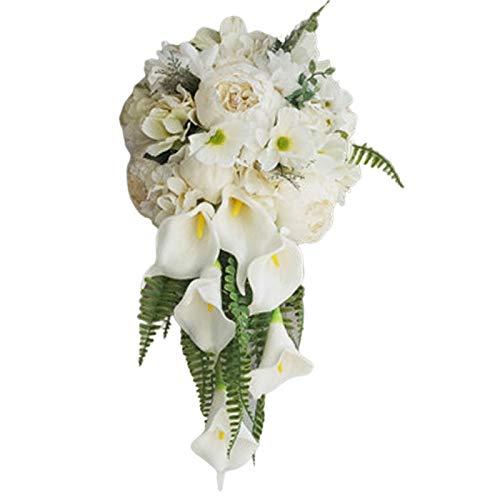 KU Syang Bouquet da Sposa Un Cascata Artificiale Peonia Vintage Fiore di Ortensia Calla Lily Matrimonio Forniture Mazzi di Lusso