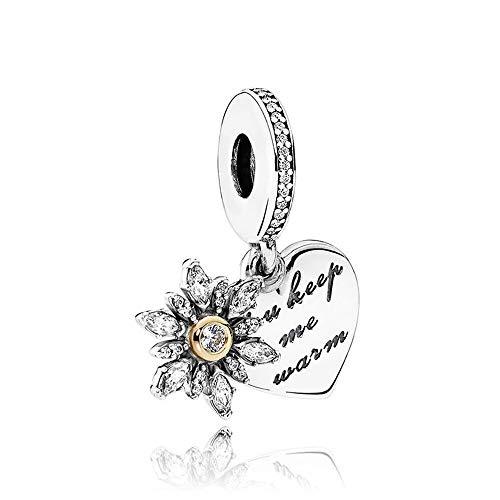 LYDXD Fit Original Pandora Charm Armbänder 925 Sterling Silber Perle Schneeflocke Herz Frauen Armreif DIY Schmuck Geschenk