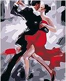AGjDF Bailarines de Tango argentinoDIY Pintar por Numeros-Lienzo preimpreso-óleo Regalo para Adultos Niños Pintura por Numero Kits Decoración del Hogar_40x50cm