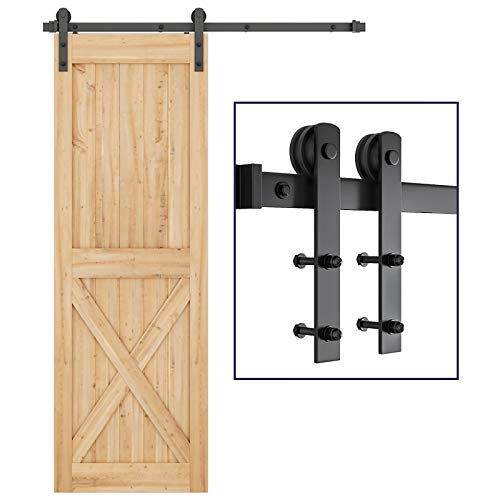 """SMARTSTANDARD 5ft Heavy Duty Sturdy Sliding Barn Door Hardware Kit -Smoothly and Quietly -Easy to Install -Includes Step-by-Step Installation Instruction Fit 30"""" Wide Door Panel (I Shape Hanger)"""