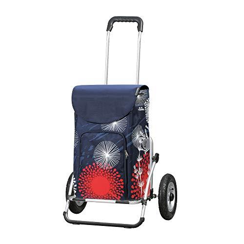 Andersen Einkaufstrolley Royal XXL klappbar mit luftbereiftem Kugellagerrad 25 cm und 41 Liter Einkaufstasche Lily mit Kühlfach blau/rot/weiß