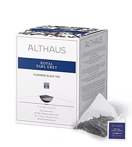 Althaus Tee ROYAL EARL GREY (vorher EARL GREY CLASSIC) ⋅ Schwarzer Tee im Pyramidenbeutel PYRA PACK ⋅ Aromatisierter Earl Grey Schwarztee ⋅ 15 x 2,75g