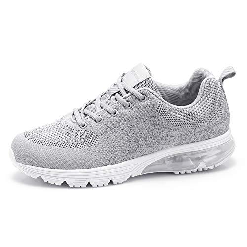 Goalsse Scarpe Sportive Uomo e Donna Scarpe da Ginnastica Scarpe da Corsa Scarpe da Fitness Outdoor Running Sneakers Respirabile Mesh Sneakers Casual (45 EU, Grigio)