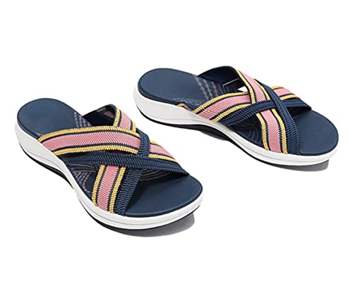 VNMG Producto Sandalias de diapositiva ortopédicas cruzadas de gradación, sandalias planas de diapositiva ortopédica cruzada elástica para las mujeres, color Rosa, talla 36 EU