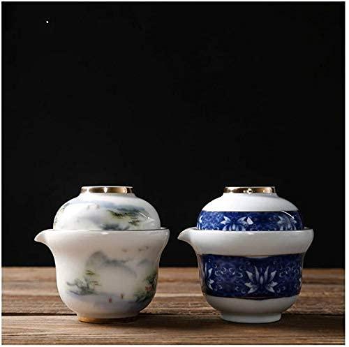 FGDSA Silver Teapot 2pcs Sterling Silver 999 Tea Set Home Teapot Cup Set Ceramic Quick Guest Cup Travel Tea Set