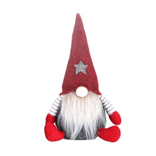 Amosfun Christmas Swedish Gnome Plush Toys Xmas Tree Topper Decor Ornament Gift (Red)