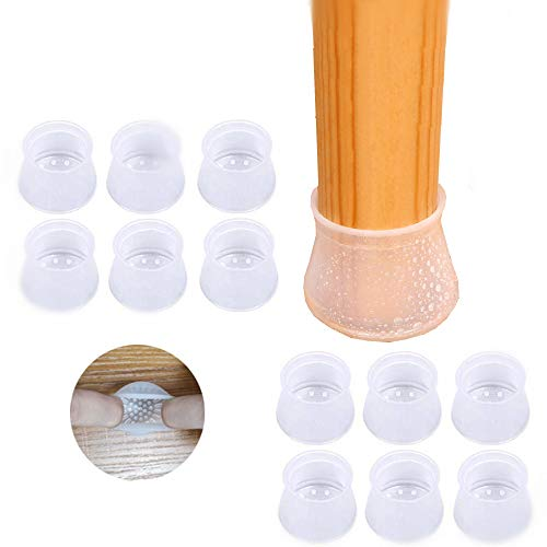 36 PCS Chair Leg Covers  Round&Square Chair Leg Floor Protectors Elastic Furniture Chair Leg Caps with Anti-Slip Bottom Prevent Scratches & Noise Without Leaving Traces. (36PCS-Medium)