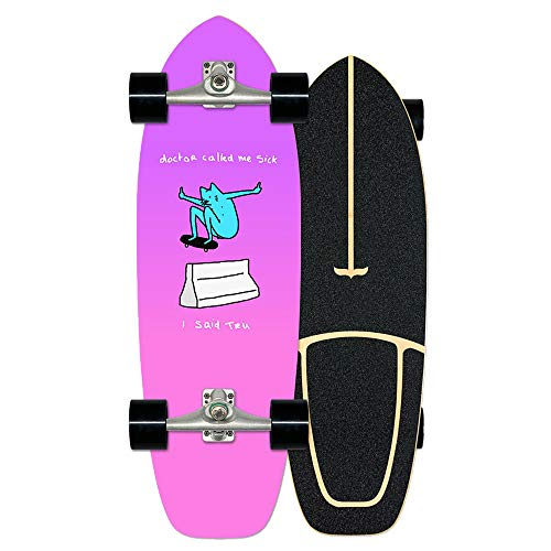 VOMI Adolescentes Carving Skateboard Cruiser Board, Impresión por Transferencia de Calor, ABEC 11 Rodamiento, 78A PU Rueda, Adecuado para Niños Principiantes Adultos, Carga Máxima 150kg,A