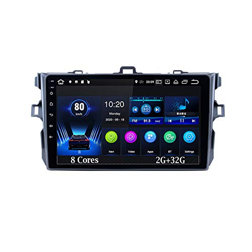 Android Autoradio Estéreo 9 Inch Pantalla Tactil para Coche para Toyota Corolla 2007-2013 8 Cores 2G+32G Radio del Coche Car Player con Pantalla Táctil Coche Conecta Y Reproduce Coche Audio USB