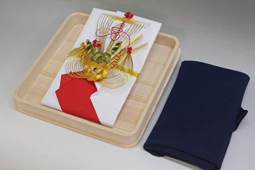 結納金袋(赤白)寿宝船・ヘギ台付・正絹ちりめん風呂敷68cm(鉄紺)付き
