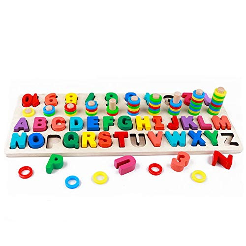 RUIDELI Wooden Blocks Puzzle Board Set Alphabet ABC, Learning & Educational Toys for Number Counting, Colors Stacking, Shape Sorting, Early Education Toy