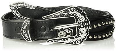 Nocona Belt Co. Women's Thin Scallop Cutout Belt, black, 40