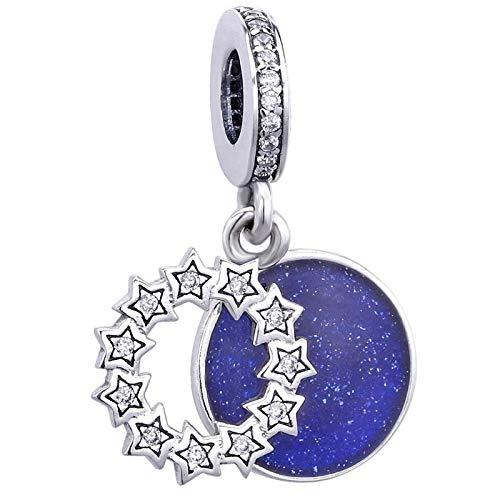 pandora 925 plata esterlina DIY colgante joyería inspiradora estrellas azul esmalte sólido perlas swing encanto ajuste pulseras mujeres s joyería
