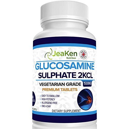 JeaKen - SULFATE DE GLUCOSAMINE 2KCl 1500mg   365 Comprimés (Approvisionnement pour 1 An)   Végétariens et Végétaliens   Complement Alimentaire Anti Arthrose et Articulation Douloureuse