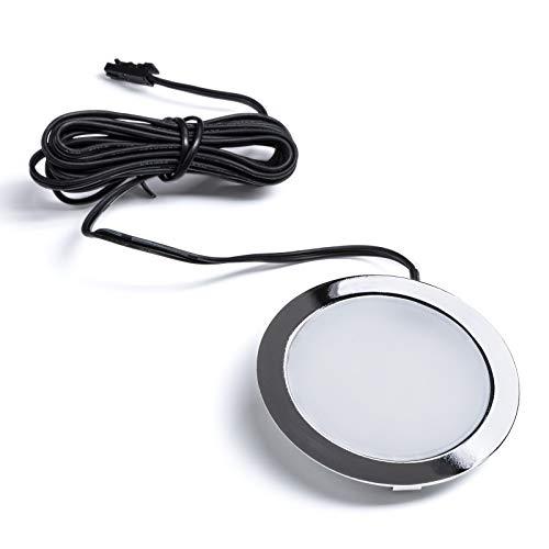 5 x LED Einbaustrahler GIULIA 12V 3W / warmweiß - 2700K / 65 x 12 mm/Gehäuse Chrom poliert Möbeleinbauleuchte Einbauleuchte Spot Ultraslim von SO-TECH®