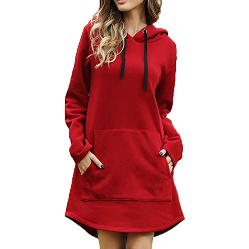 OtoñO E Invierno Ropa Casual Mujer Suelto Color Sólido Bolsillo Manga Larga Suéter con Capucha