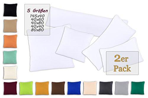 SHC - Kissenbezug 2er-Set für Dekokissen, 100% Baumwolle mit Reißverschluss - 40x40 cm, weiß